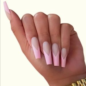 Pink V French Coffin Nails